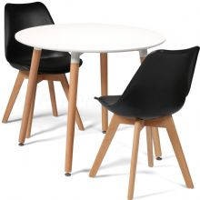 Toulouse Dining Set  - 90cms Round White Table & 2 Black Chairs